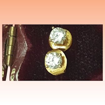 Estate Vintage .50ct Round Cut Cubic Zirconia 14k Yellow Gold Earrings Studs