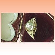 Incredible works of Art ,Antique Art Deco 14K 2-Tone Gold Filigree .15ct Diamond Ring