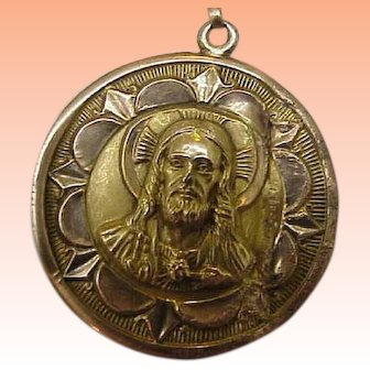 Antique 12k Solid Yellow Gold Large Ornate Jesus Christ & Mary Face Pendant ,early 1900s