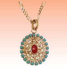 Antique  14k Yellow Gold Natural Coral & Turquoise Filigree Pendant , late 1800's