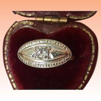 Art Deco 14kt White Gold .22ct Solitaire Diamond Ornate Filigree Ring, 1930s