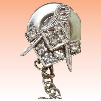 Masonic Art Deco  14k White Gold  6 Round Cut .35ctw Diamond Pin