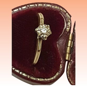 Art Deco 14kt yellow Gold .10ct Solitaire Diamond Ring, 1930s