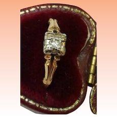 "Art Deco  "" K & P"" Design 14kt yellow Gold .15ct Solitaire Diamond Filigree Ring, 1930s"
