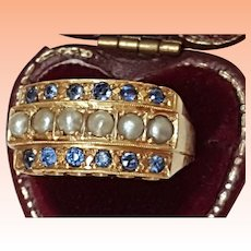 Antique 14k Yellow Gold Natural Sapphire & Seed Pearl Ring,1880s