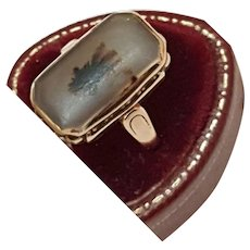 Antique  Victorian Natural Agate 10K Gold Ring, 1880s