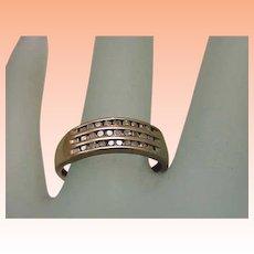 Estate Vintage 10K Gold Yellow 27 Diamonds Wedding Ring Band,1950s