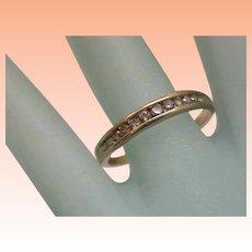 Estate Vintage 10K Yellow Gold 12 Diamonds Wedding Ring Band, 1950's