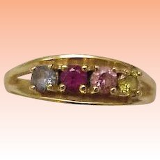 Estate 14K Gold Yellow Citrine Amethyst Blue Topaz Ruby Mother Ring Band