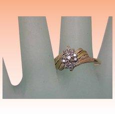 Estate Vintage 14k Yellow Gold .24cttw Diamond Ring ,1950's