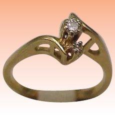 Estate Vintage 14k Yellow Gold Engagment .20ct Diamond ring ,1950's