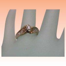 Estate 10k Yellow Gold .20ct Marquise Diamond ring ,1950's