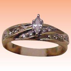 Vintage 10k Yellow Gold Engagment .25ct Diamond Ring