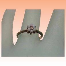 Ladies Victorian 10K Yellow Gold Opal & Rose Cut Diamond Ring,1880s