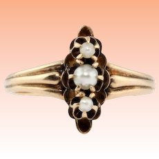Antique 1880's 10k Rose Gold Freshwater Graduated Pearl Womens Ring!