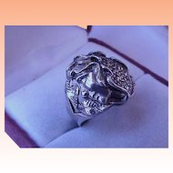 Antique C. 1900 Art Nouveau Sterling Silver Flowing Lady Estate Womens Ring