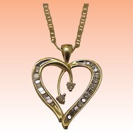 Estate Vintage 10k Yellow Gold  .50cttw Diamond Pendant,1950s