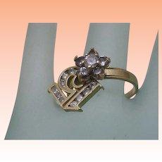 "Estate Vintage 14k Yellow Gold 1.00ct Cubic Zirconia ""15"" Ring"