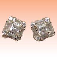 Unisex Estate Vintage 14kt Yellow Gold Earrings 2.00cttw Cubic Zirconia