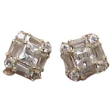 Unisex Estate Vintage 14kt Yellow Gold Earrings 2.00cttw Cubic Zirconia