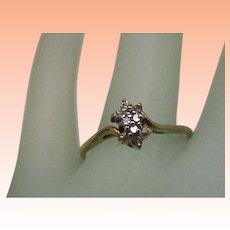 Estate Vintage 14K Yellow Gold .25ct Diamond Cluster Ring,1950s