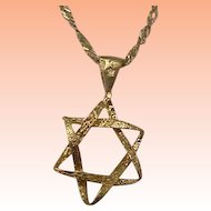 14K Yellow Gold Jewish Star of David Pendant Charm