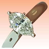 14k White Gold 1.01ct Natural Marquise Cut Diamond Ring comes with Appraisal Certificate