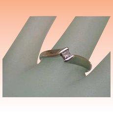 Estate Vintage 14k White Gold Engagment .18ct Diamond Ring ,1950's