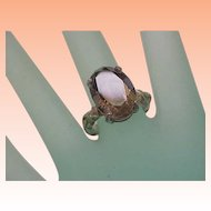 Estate Very Cute Huge Sterling Silver Genuine Smoky Quartz Ring, 1950's
