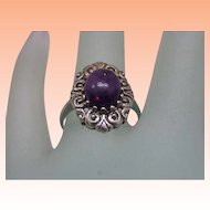 Estate Very Cute Sterling Silver Genuine Amethyst Ring, 1950's