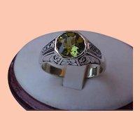 Vintage Estate  Unisex  3.00ct Peridot Diamond Platinum and 14K Yellow Gold Enamel Ring