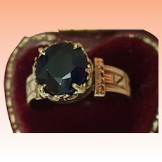 Antique  12K Rosey Gold Genuine Huge 2.00carats Solitaire Blue Sapphire Ring