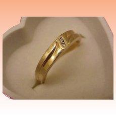 Estate Vintage 2 Diamonds Unisex Wedding Band 14kt Yellow Gold Ring
