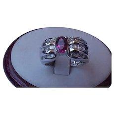 JCR Vintage Unique 1.75cttw Flawless Natural Pink Tourmaline & Diamonds 14K White Gold Cocktail Ring