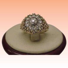 Unisex Art Deco 18kt Gold Platinum .75ct Diamond Filigree Ring