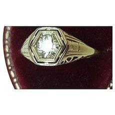 Incredible works of Art , Unique Art Deco 14K 2-Tone Gold Filigree Ring: .50ct Old European Cut Diamond