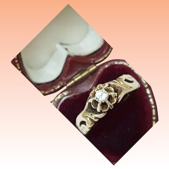 1900s Antique 14K Gold .25ct Solitaire Diamond Ornate Filigree Ring Unique
