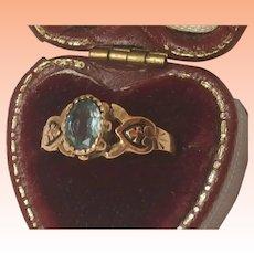 1800s Antique 12K Gold Blue Stone Ornate Enameled Ring Unique