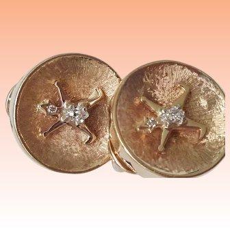 Vintage 1950s 14K Yellow Gold .50cttw Diamond Pierced Earrings