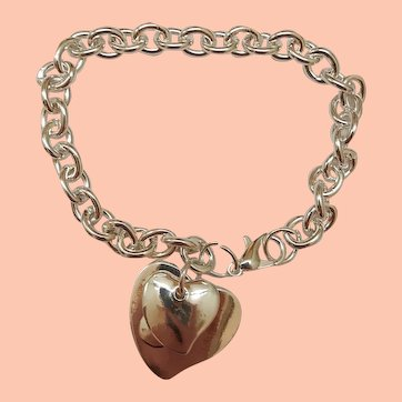 Estate 925 Sterling Silver Heart Pendant Classic Stylish Bracelet