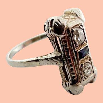 Antique Art Deco 18k White Gold Old Euro Diamond Natural Sapphire Ladies Ring.