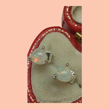 Cute 925 Silver White/Blue Fire Opal Heart Studs