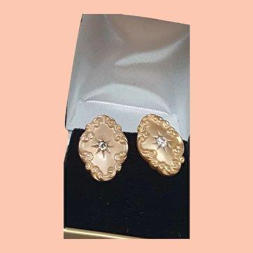 Antique Victorian 14K Gold .25cts Old European Cut VS Diamonds Studs Earrings