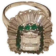GIA Certified $120.000 Platinum 9.21ct Diamond and Emerald Ring, Unique