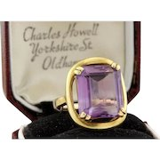 Vitage Estate 18k Yellow Gold 7.25Carats Emerald Cut Amethyst Ring,9.9gr