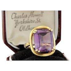 Vitage Estate 18k Yellow Gold 7.25Carats Emerald Cut Amethyst Ring,9.9gr