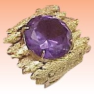 Astonishing Vintage  14k Yellow Gold Nugget Ring: Huge Genuine Amethyst,Very Heavy 13.7gr