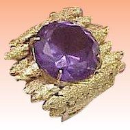 Astonishing Vintage  14k Yellow Gold Nugget Ring: Huge Genuine Amethyst,Very Heavy 13.7gr