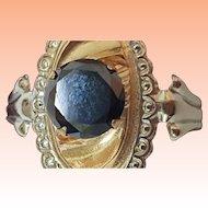 Estate Vintage 18k Yellow + White Gold .80ct Genuine Deep Blue Diamond Ring