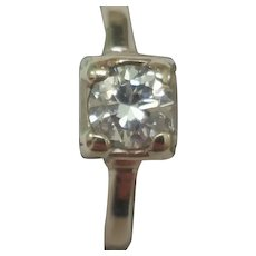 Vintage Estate Unique 14K White Gold Engagment Ring: .50ct Brilliant Cut Diamond Ring